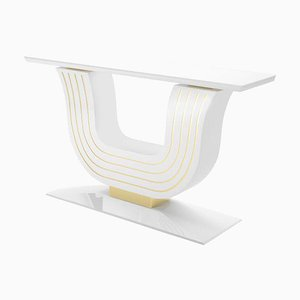 White Console Table with Brass Applications