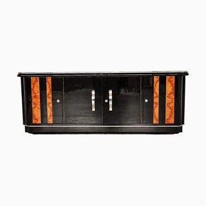 Art Deco Klavierlack und Walnuss Lowboard