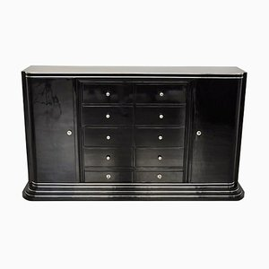 Art Deco Black Highboard with Ten Drawers