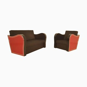 Verchromter Art Deco Armlehnstuhl und Sofa Set von Lloyd Timm