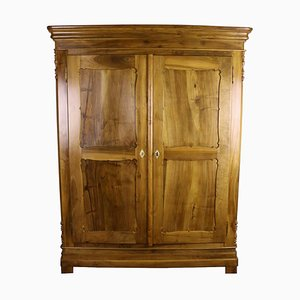 Biedermeier Walnut Cabinet with Carved Panel Doors, 1870s