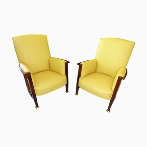 Art Nouveau Mahogany and Yellow Leather Armchairs, 1910s, Set of 2