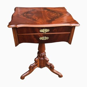 Antique French Louis Philippe Walnut Sewing Table with Brass Fittings