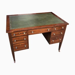 Antique American Mahogany Desk with Leather and Gold Edge