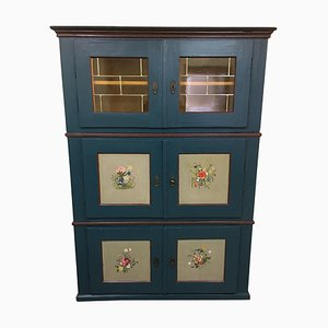 Antique Biedermeier Pine Wall Cabinet with Fine Paintings, 1860s