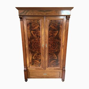 Antique German Wilhelmine Walnut & Burl Wood Cabinet