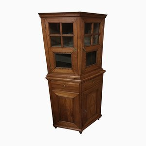 Antique Biedermeier Cherry & Glass Corner Cabinet, 1819