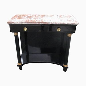 Antique Empire Style Black and Red High Gloss & Marble Console Table