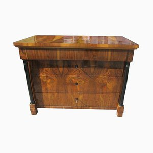 Antique Biedermeier Nutwood Commode with Columns