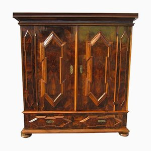 Antique Baroque Dark Walnut Armoire or Hall Cabinet
