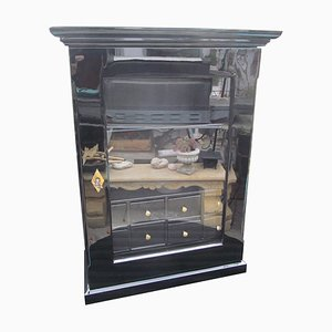 Antique Biedermeier Black & High Gloss Wall Cabinet, 1860s
