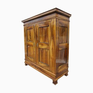 Antique Biedermeier Walnut Hall Cabinet with Stunning Grain