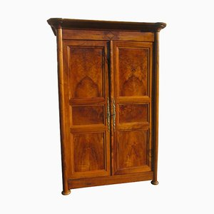 Antique Biedermeier Walnut Hall Cabinet, 1830s