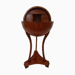 Table de Bar Style Biedermeier Antique en Forme de Globe en Merisier