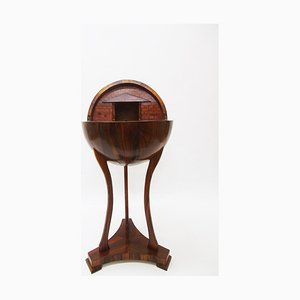 Antique Biedermeier Style Walnut Globe Sewing Table
