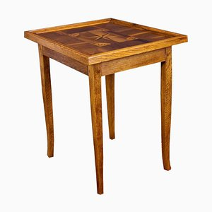 Antique Biedermeier Oak Game or Side Table with Inlay Works