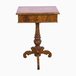 Antique Biedermeier Walnut Sewing Table or Side Table