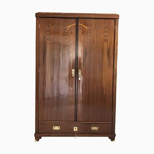 Vintage Art Nouveau Walnut Wardrobe with Marquetry