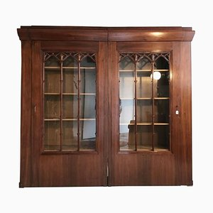 Large Vintage Art Nouveau Style Vitrine Cabinet with Book Shelving