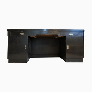 Antique Art Nouveau Black Oak Desk, 1925