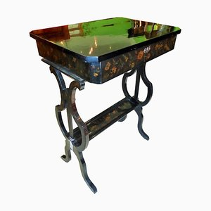 Antique Biedermeier Floral Painted Sewing Table, 1830s