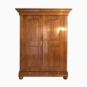 Antique Biedermeier Grained Oak Wardrobe