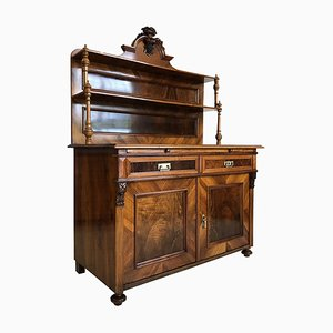 Antique Historicism Walnut Veneer Buffet, 1870s
