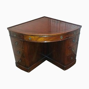 Bureau d'Antiques Arts and Crafts Antique avec Plateau en Cuir