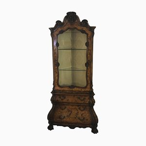 Antique Baroque Style Walnut Corner Vitrine