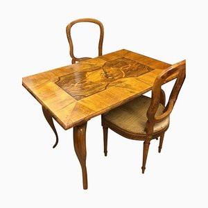 Table de Jeu Baroque Antique en Noyer