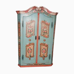 Antique Biedermeier Floral Painted Farmers Cabinet