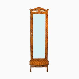 Antique High Monumental Rosewood Floor Mirror