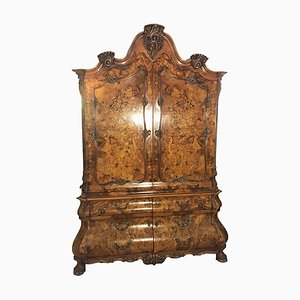 Antique Baroque Style Floral Ornamented Armoire