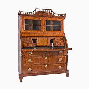 Antique Empire Style Mahogany Secretaire with Display Case