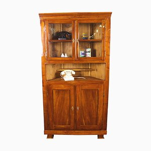Antique Biedermeier Cherry & Glass Corner Vitrine Cabinet