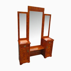 French Art Deco Poplar Burl Wood Dressing Table, 1900s