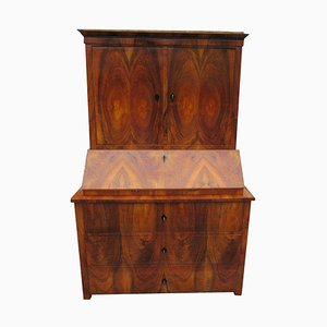 Antique Biedermeier Walnut Veneer Secretaire