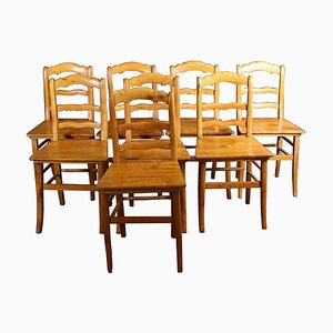 Antique Biedermeier Cherry Dining Chairs, Set of 7