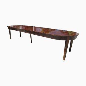 Mesa de comedor o mesa de conferencias Biedermeier antigua grande de chapa de nogal