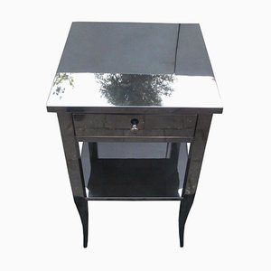 Antique High Gloss Black Side Table or Nightstand