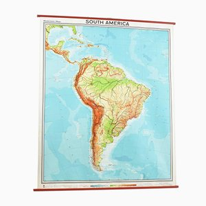 Vintage South America Westermann School Map, 1960s