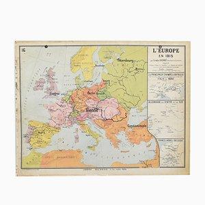 Vintage 1815 Europe Delagrave Map, 1960s
