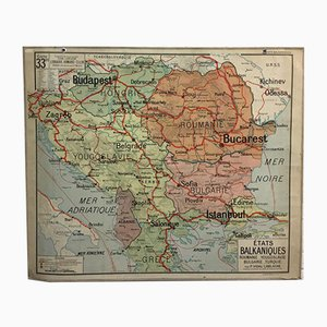 Vintage French School Wall Map of Balkan States