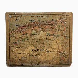 Vintage French Vidal Lablache Map of Algeria Tunisia