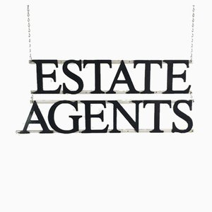 Panneau de Agents Immobiliers en Fonte, 1930s