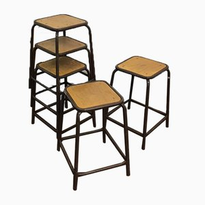 Vintage Brown French School Lab Stools