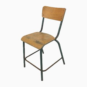 French Tall Green School Chair from Mullca, 1960s