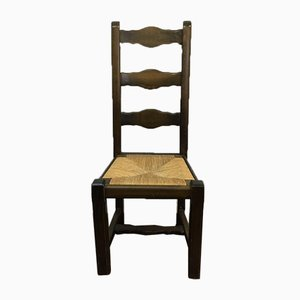 Vintage French Rush Seat Ladder Back Farmhouse Chair