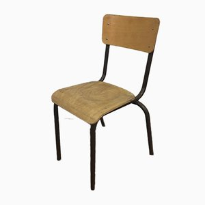 Vintage French Brown School Chair, 1960s