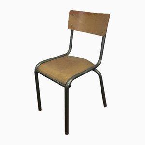 Chaise d'Ecole Grise par Gaston Cavaillon pour Mullca, France, 1960s